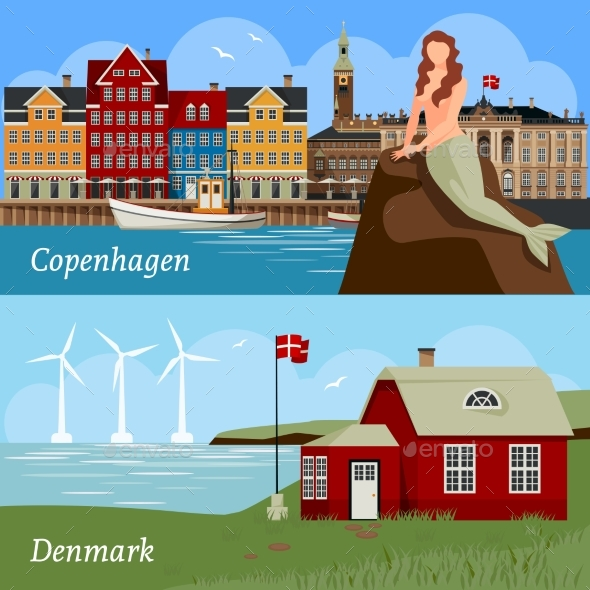 Denmark Flat Style Compositions - Travel Conceptual
