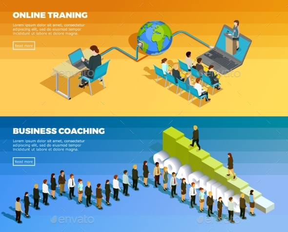 Business Education Isometric Horizontal Banners - Abstract Conceptual