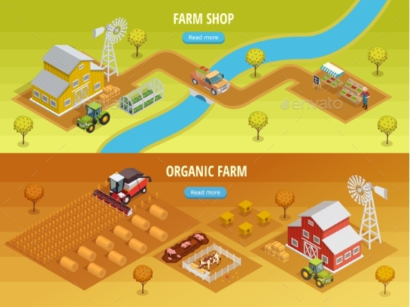 Farm Isometric Horizontal Banners - Animals Characters