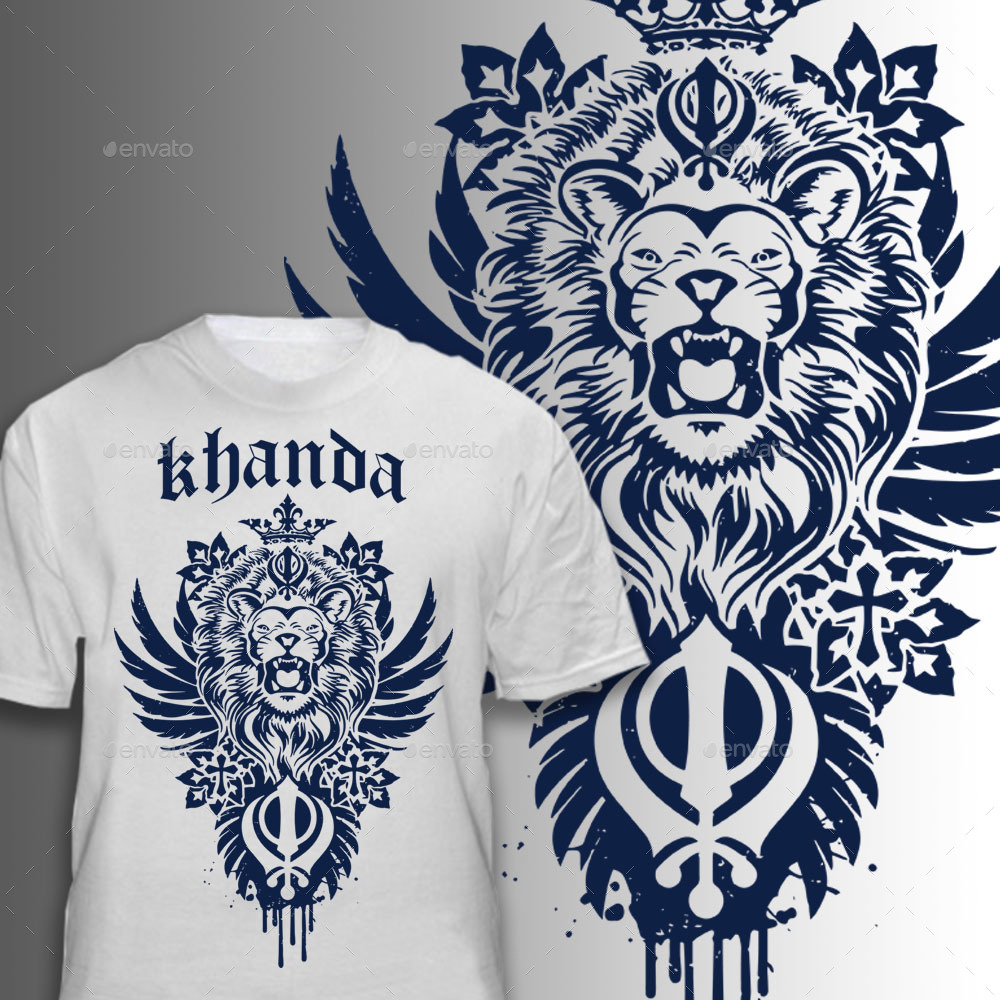 5946432a Khanda Lion - T-Shirts. image preview set/khanda blue.jpg ...