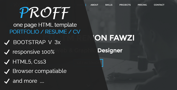 Proff | One Page Personal & Portfolio HTML Template