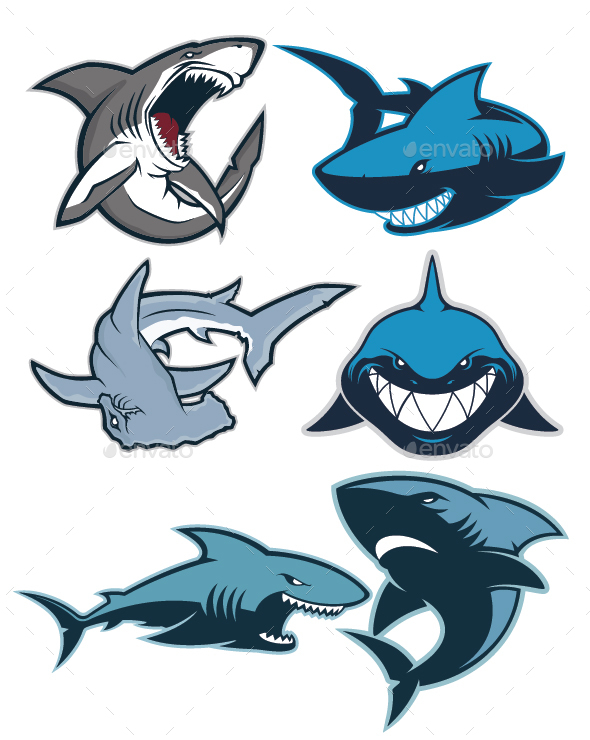 shark logo mascot animals characters