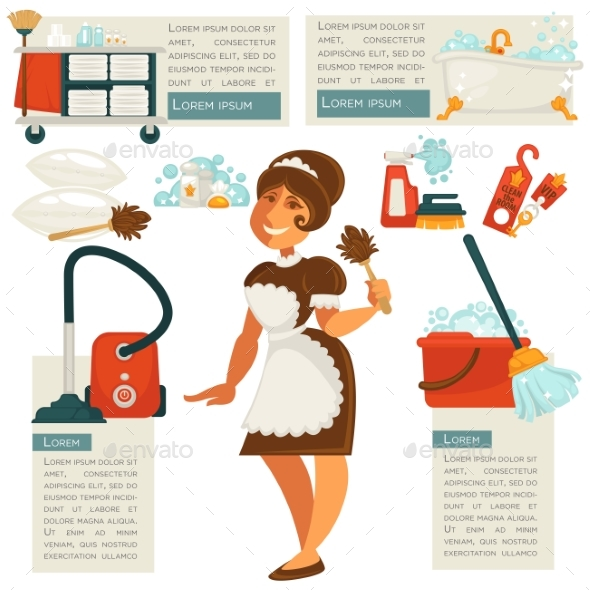 Vector Housemaid and Cleaning Supplies. - People Characters