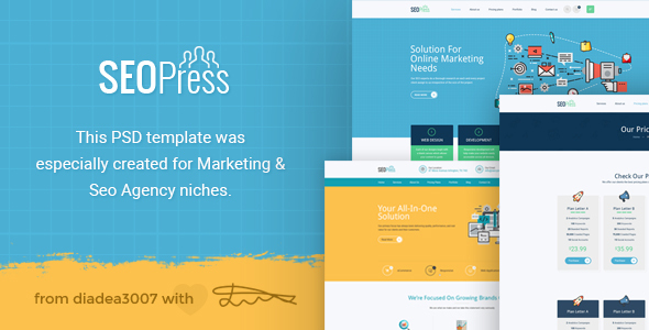 SeoPress - Seo & Digital Marketing Agency PSD Template - Marketing Corporate