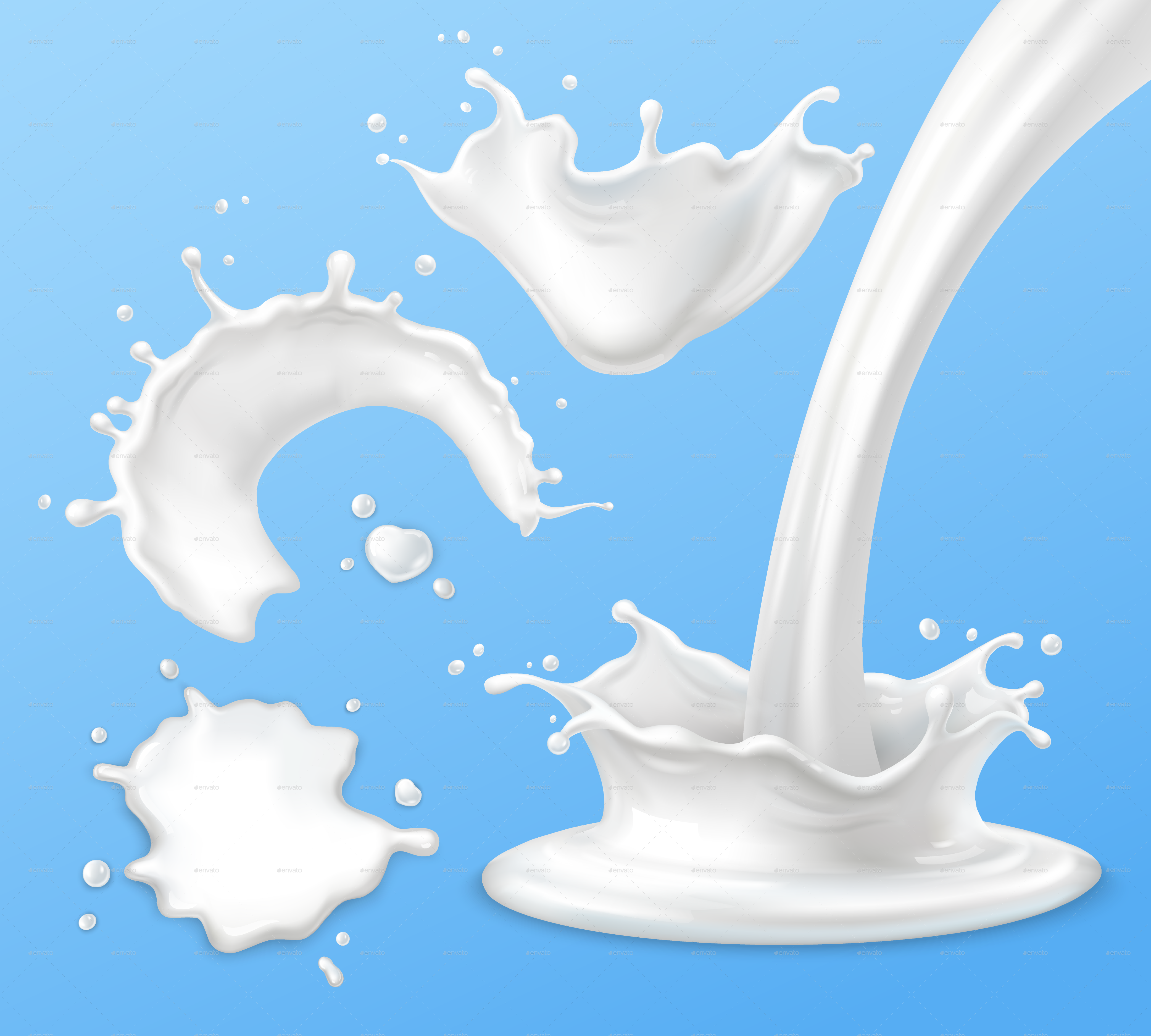 Milk Splashes, Drops and Blots by Mia_V | GraphicRiver