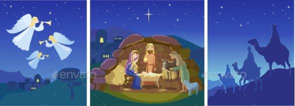 Three Christmas Scenes. Vector - Religion Conceptual