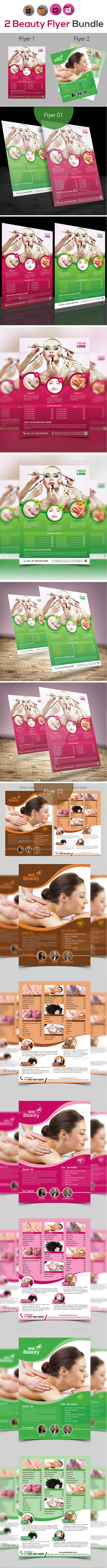 Spa | Beauty | Salon Flyer Bundle V4 - Flyers Print Templates
