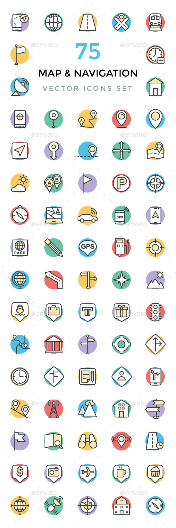 75 Maps and Navigation Vector Icons - Icons