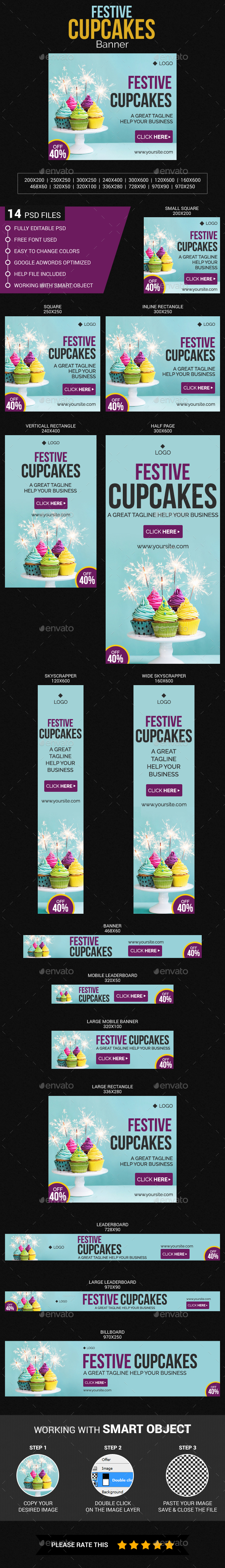 Festive Cupcake - Banners & Ads Web Elements