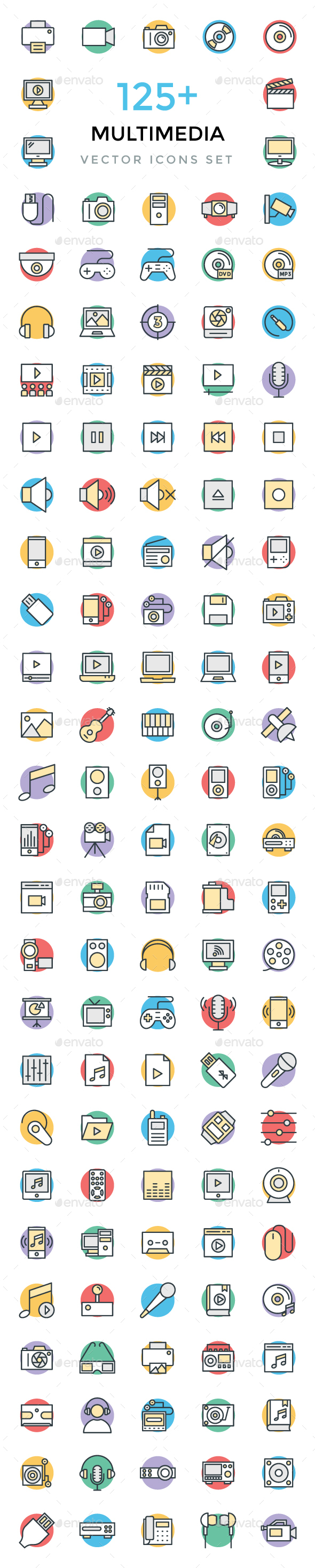 125+ Multimedia Vector Icons - Icons