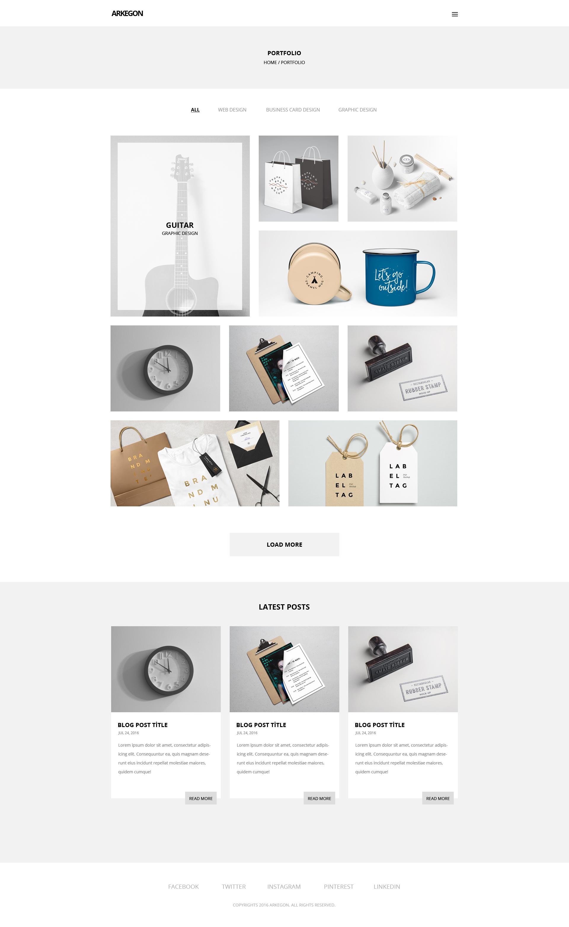 Arkegon - Minimal Portfolio PSD Template by zincmiller | ThemeForest