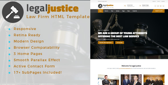 Legal Justice – Template for Lawyers Attorneys and Law Firm