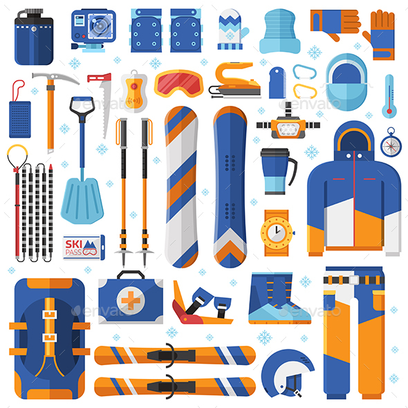 Snowboard and Ski Gear and Equipment Set - Sports/Activity Conceptual