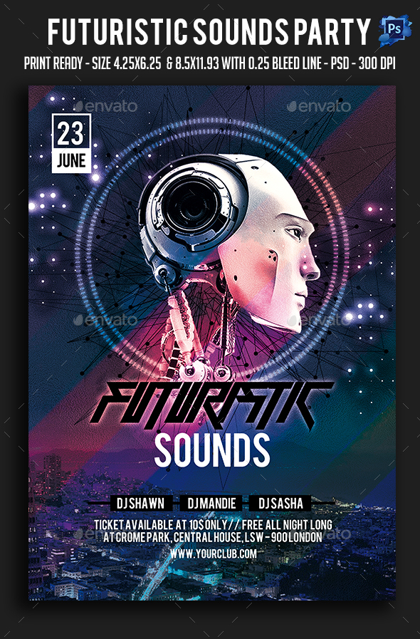 Futuristic Sounds Party Flyer - Clubs & Parties Events