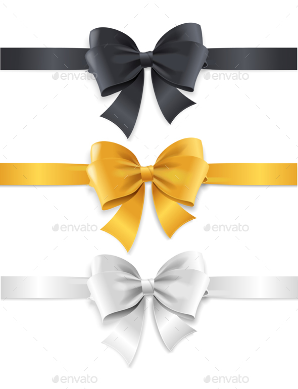 Luxury Bows and Ribbons Set. Vector - Decorative Vectors