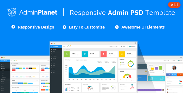 Admin Planet - Dashboard Psd Template - Business Corporate