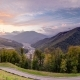 Autumn in High Mountains at Sunset. Sochi, Russia. Krasnaya Polyana - VideoHive Item for Sale