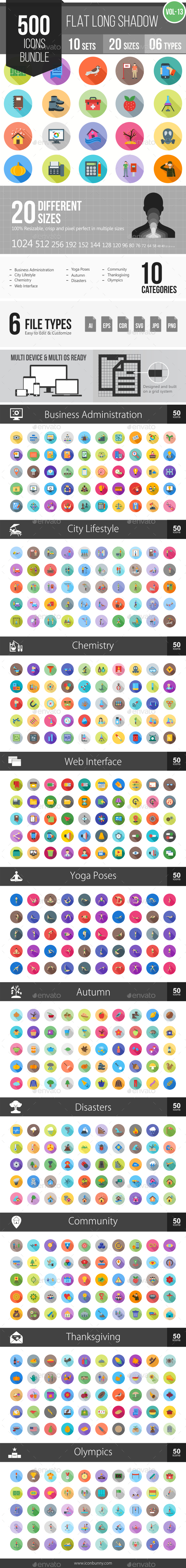500 Vector Flat Shadowed Icons Bundle (Vol-13) - Icons