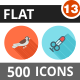 500 Vector Flat Shadowed Icons Bundle (Vol-13) - GraphicRiver Item for Sale