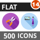 500 Vector Flat Shadowed Icons Bundle (Vol-14) - GraphicRiver Item for Sale