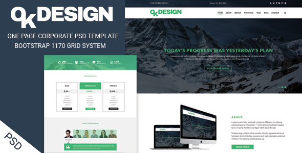 OkDesign – One page Corporate PSD Template