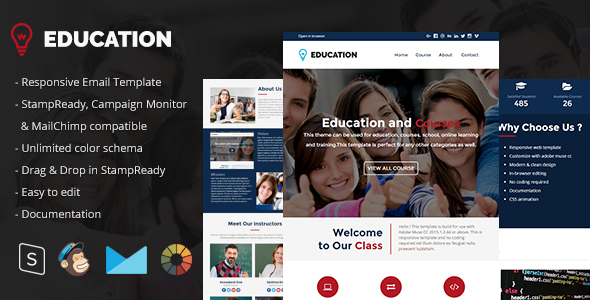 Education – Responsive Email Template + StampReady Builder