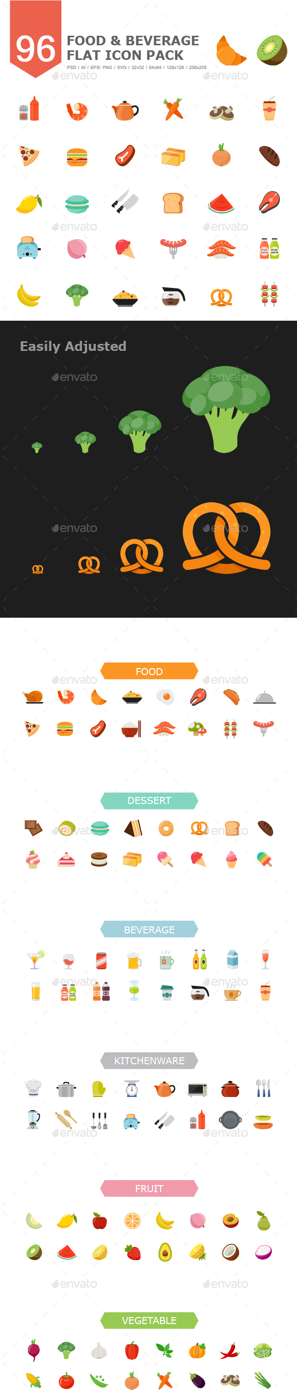 96 Food&Beverage Color Flat Icon - Food Objects