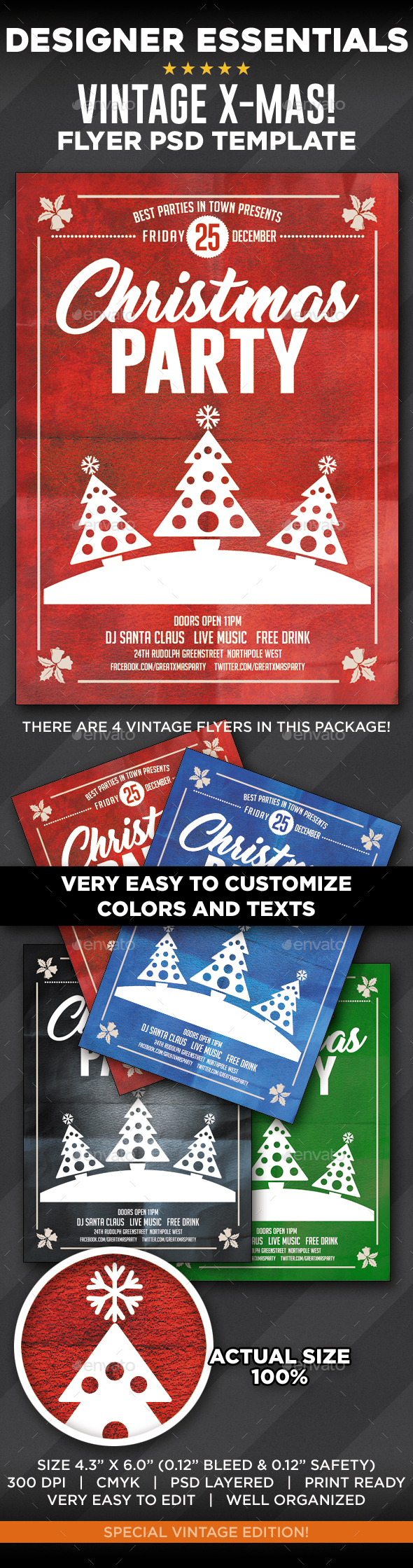 4 Vintage Christmas 2016 Flyers - Clubs & Parties Events