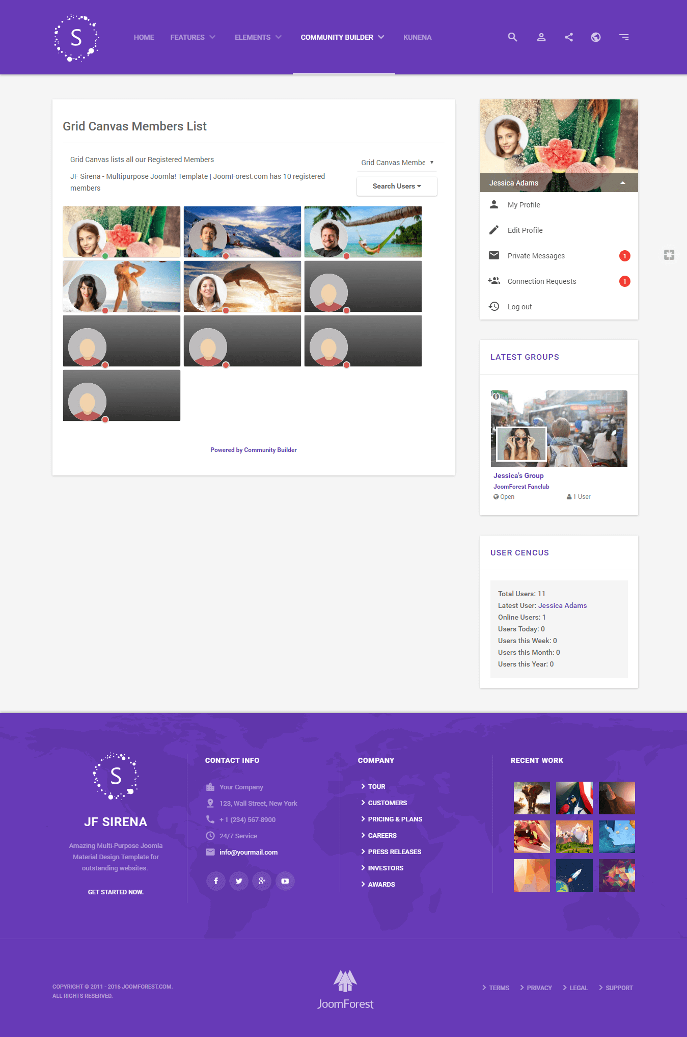 Sirena material design premium joomla template by joomforest cb grid canvas members listg pronofoot35fo Images