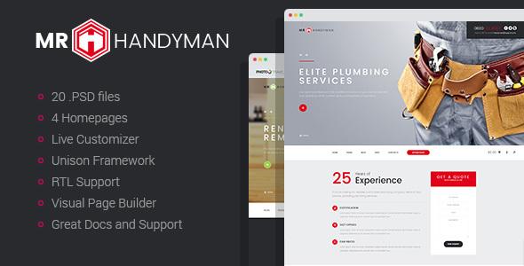 Handyman - Repair/Renovation WordPress Theme - Business Corporate