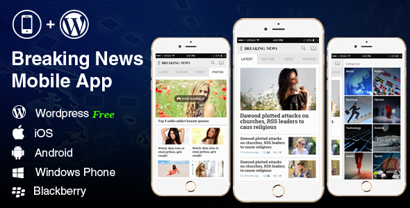 Full Android, iOS Mobile Application for Wordpress News, Blog - Breaking News - CodeCanyon Item for Sale