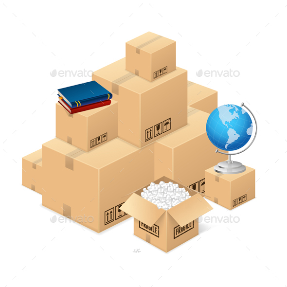 Moving Concept with a Pile of Cardboard Boxes. Vector - Conceptual Vectors