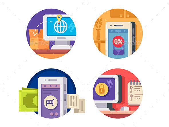 Internet Technology Icons - Web Elements Vectors