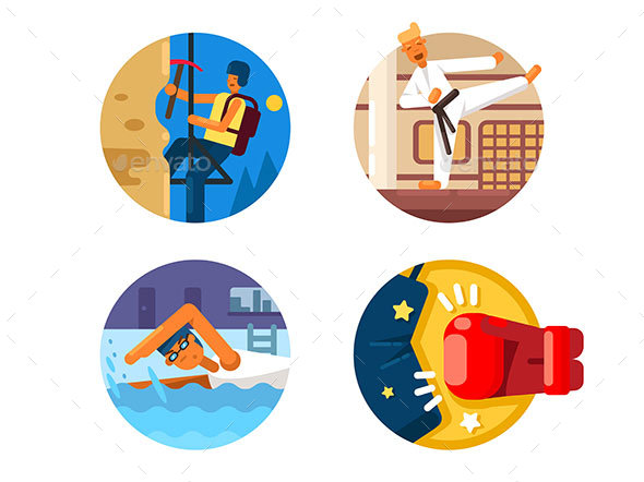 Active Sports Icons - Web Elements Vectors