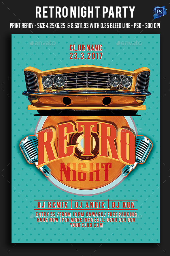 Retro Night Party Flyer - Clubs & Parties Events