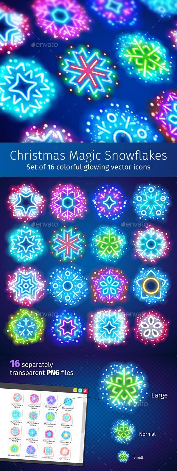 Christmas Neon Snowflakes with Magic Sparkles - Seasonal Icons