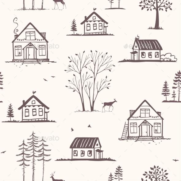 Houses Seamless Pattern - Patterns Decorative