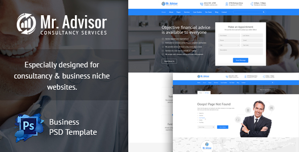 Mister Advisor, Consulting and Finance Template - Corporate PSD Templates