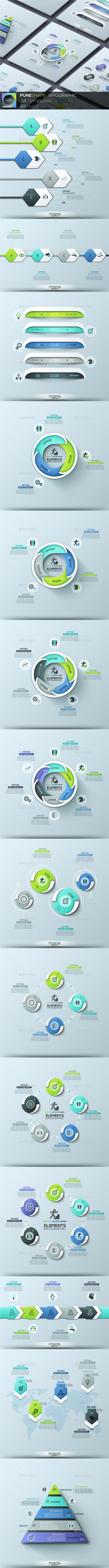 Pure Shape Infographic. Set 7 - Infographics