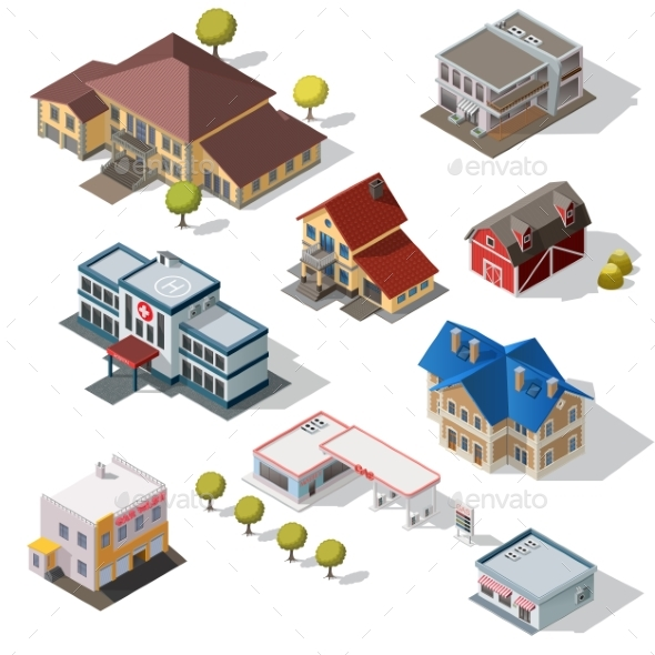 Isometric High Quality City Street Urban Buildings - Buildings Objects