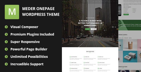 Meder - Creative One Page Parallax WordPress Theme