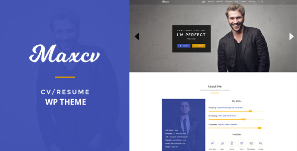 Max CV – Resume/CV WordPress Theme