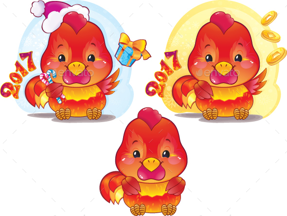 Symbol of the Chinese Horoscope - Fire Rooster - New Year Seasons/Holidays