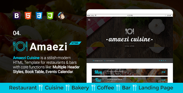 Amaezi - Responsive Restaurant HTML Template - Restaurants & Cafes Entertainment