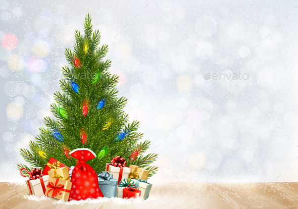 Christmas Holiday Background with Presents and Tree - New Year Seasons/Holidays
