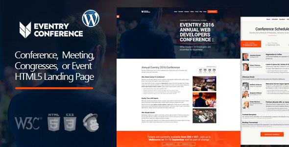 Eventry – Conference & Event Landing Page WordPress Theme