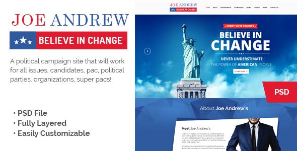 JOE Political Campaign Landing Page