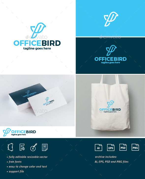 Office Bird Logo - Animals Logo Templates