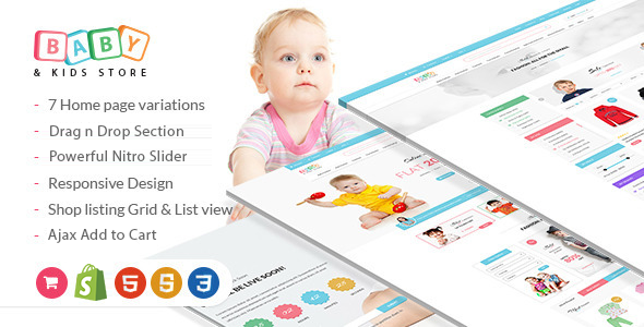 Baby Store – DRAG and DROP, clean, responsive Shopify themes