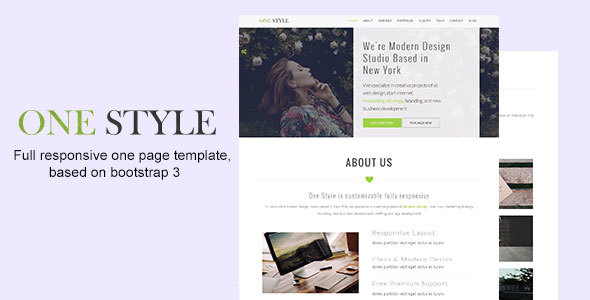 One Style – Parallax Landing Page Template